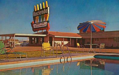 Vintage Motels - Hacienda Motel, Yuma AZ by Yesterdays-Paper