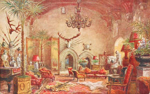 Vintage UK - Warwick Castle, The Great Hall by Yesterdays-Paper
