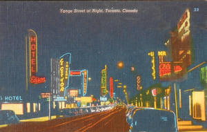 Night Scene Postcards - Yonge Street, Toronto by Yesterdays-Paper