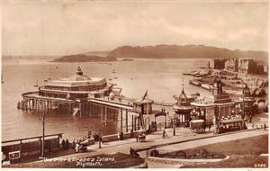 Vintage UK - Plymouth Pier + Drake's Island by Yesterdays-Paper