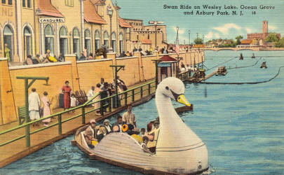 Vintage New Jersey - Swan Ride, Wesley Lake by Yesterdays-Paper