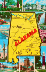 Mid-Century Map Postcard - Alabama by Yesterdays-Paper