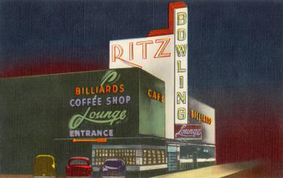 Night Scene Postcards - Ritz Bowl, South Salt Lake by Yesterdays-Paper