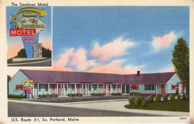 Vintage Motels - Sandman Motel, S. Portland ME by Yesterdays-Paper