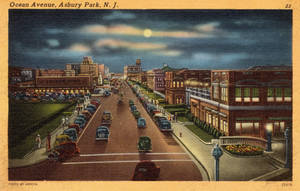 Night Scene Postcards - Ocean Ave., Asbury Park NJ by Yesterdays-Paper