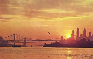 Vintage New York - Manhattan Sunset by Yesterdays-Paper