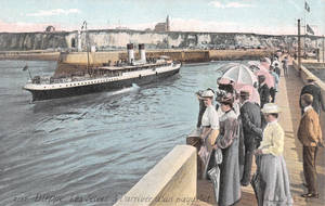 Vintage Europe - Dieppe Ferry and Dock by Yesterdays-Paper