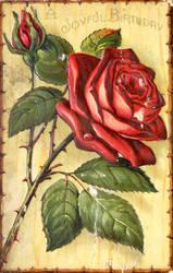 Joyful Birthday Rose by Yesterdays-Paper