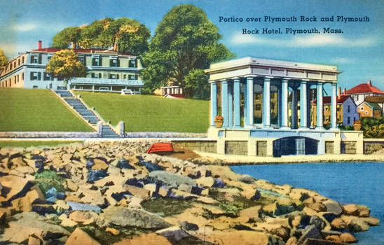 Vintage New England - Plymouth Rock Portico by Yesterdays-Paper