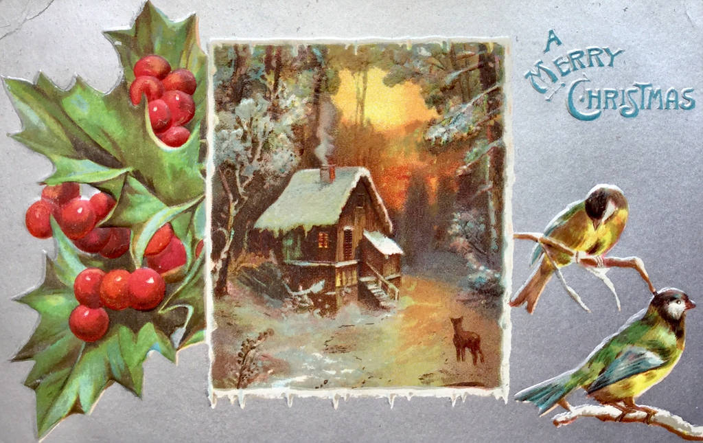 Vintage Christmas - Cabin In The Wilderness by Yesterdays-Paper