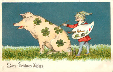 Vintage Christmas - Paint-A-Pig by Yesterdays-Paper