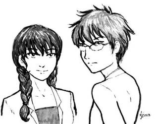 Inktober #6 - Osamu and Juri by ajorafravashi