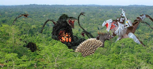 Anguirus and Biollante vs Cyber Godzilla by Nagoda
