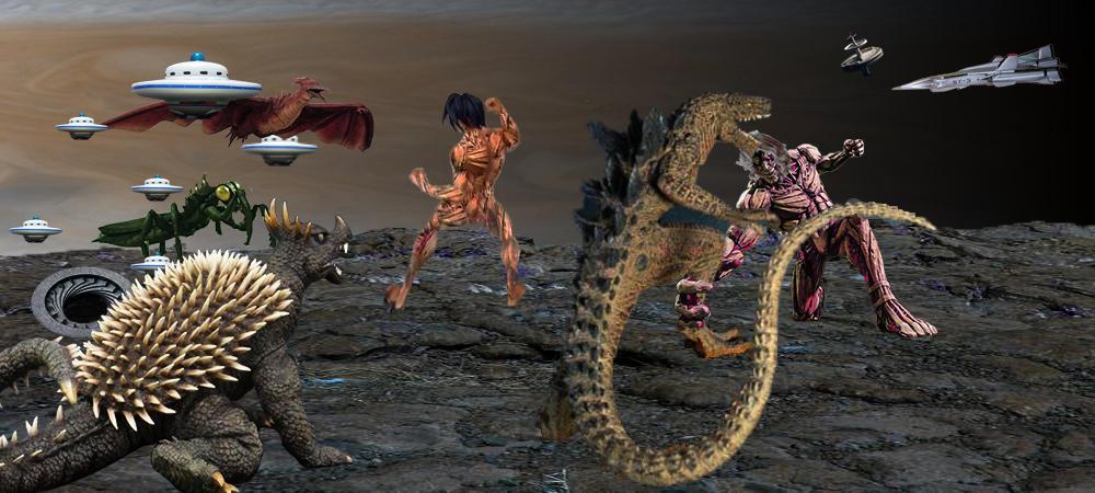 Titans vs Xilian Monsters by Nagoda