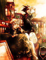 KH2 Lazyboys- Sora and Roxas by inkscripter