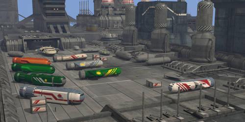 Busy Industrial Shuttle Port by riftroamer