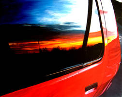 car sunset reflection by clappy-207