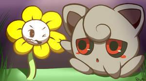 Flowey and Creepypuff by PokuMii
