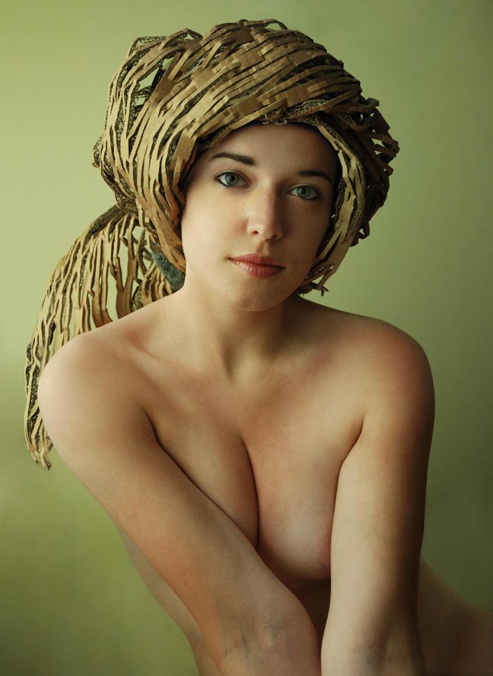 Portrait with cardboard hat by Liko