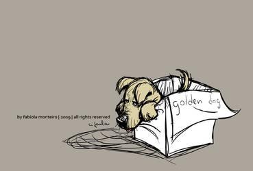 a sad golden dog by cifaela