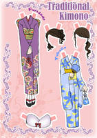 Kimono Paper doll Clothes 2 by j-nury