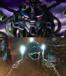 Godzilla vs Devil Gundam by MnstrFrc