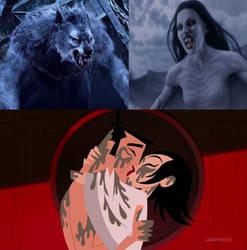 Jashi Werewolf and Vampire by MnstrFrc