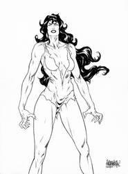 She-Hulk bw by garnabiuth