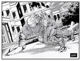 Juggernaut VS Wolverine by garnabiuth