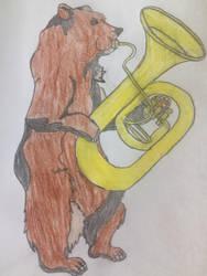 The Bear Playing the Tuba Illustration by puffedcheekedblower