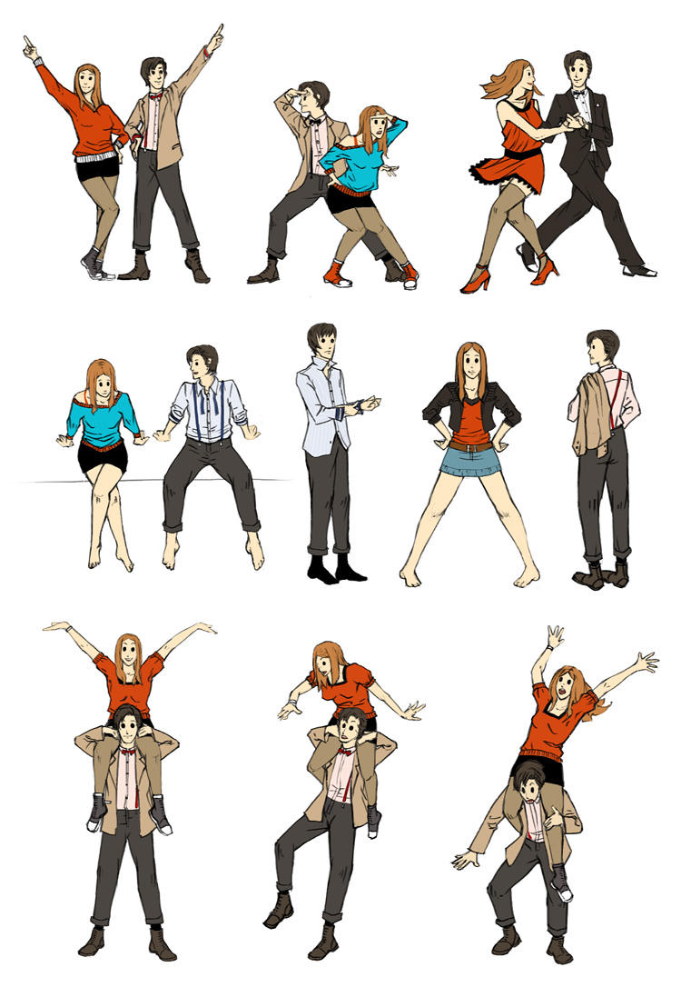 Amy and Eleven micro-poses by kimiko