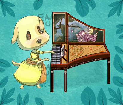 AC Pocket Camp - Goldie and her Harpsichord by SunsetCat