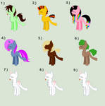 Skinny Pony Adopts! :D [OPEN 9/9] by Llamagal21