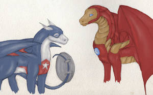 Dragon Captain America and Iron Man by Imbecamiel