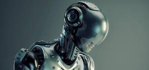Robot in steel helmet by Ociacia