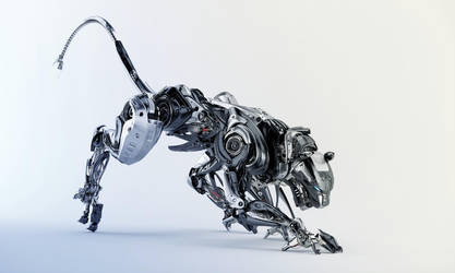 Steel robotic jaguar by Ociacia