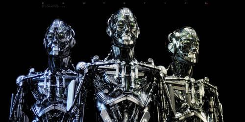 Steel mecha robots trio by Ociacia