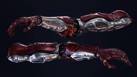 Two futuristic robotic arms by Ociacia