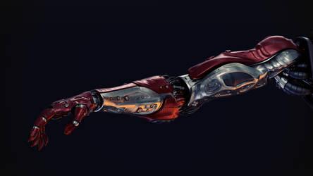 Red silver robotic arm by Ociacia