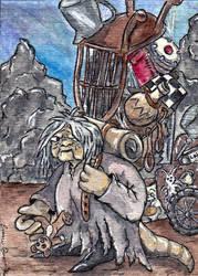 Fantasy Creature ATC Labyrinth Junk Lady by emmadreamstar