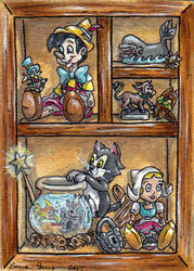 Pinocchio Cabinet ATC by emmadreamstar