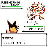 Reshiram In Pokemon Yellow by mozzytaro