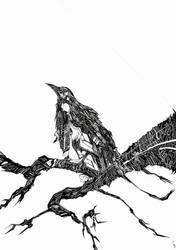 BLACK BIRD ILLUSTRATION by GeBirch