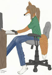 At the computer colored by Catronos