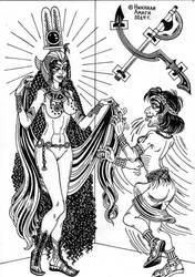 Hormahis and goddess Hathor by talfar