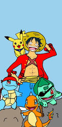 Luffy and His PokePirates 2018 by AiMoogle89