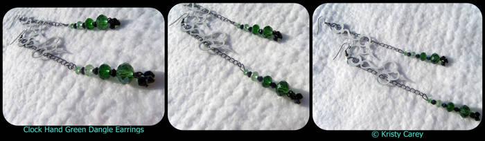 Clock Hand Green Dangle Earrings by KCarey