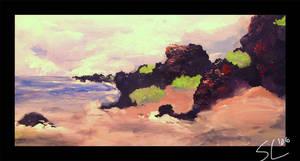 Painting:  naupaka coast line by StevenChong-no-GMF
