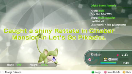 Shiny Rattata in Pokemon Let's Go by LadySesshy