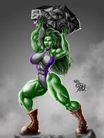 SMASH! - She-Hulk   Commission by The-Muscle-Girl-Fan